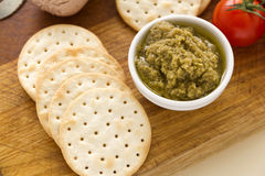 Olive Pate And Crackers Royalty Free Stock Photos
