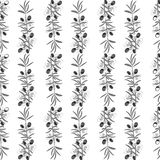 Olive pattern seamless background with olive leaves. Royalty Free Stock Photos