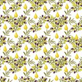 Olive pattern seamless background with olive leaves. Royalty Free Stock Image
