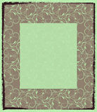 Olive photo frame with an abstract pattern. The background with the shabby edge, a pattern consists of curls, points and flexible lines. The light field in the Stock Photography