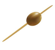 Olive, pinned on a cocktail skewer. Isolated Stock Photography