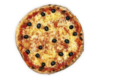Olive Pizza. True Italian pizza whit black olive Royalty Free Stock Photography