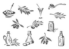 Olive products oil, pickles vector isolated icons Royalty Free Stock Images