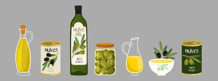 Olive products vector collection. Olive oil, branches, bottles illustration. Olive oil jug, capacity bottle and canned olive royalty free illustration