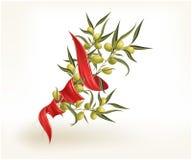 olive rött band för filial Royaltyfria Foton
