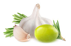 Olive, rosemary and garlic Stock Photography