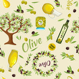 Olive Seamless Pattern Royalty Free Stock Photo