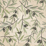 Olive seamless pattern. Floral nature food ingredient old-fashioned wallpaper Stock Photo