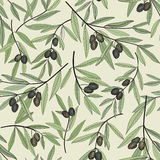 Olive seamless pattern. Hand drawn olive branch background. Stock Photography