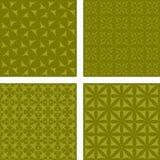 Olive seamless pattern set. Olive color seamless curved pattern background set Stock Images