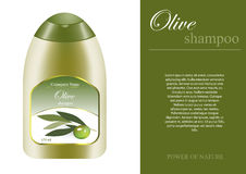 Olive shampoo bottle with sampel label. And sample advertising Royalty Free Stock Image