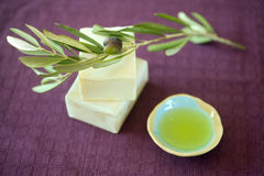 Olive soap. Hand made olive oil soap stock image