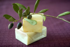 Olive soap. Hand made olive oil soap royalty free stock photo