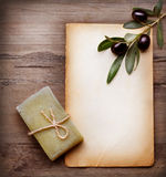 Olive Soap and Blank Paper with Olive Branch Royalty Free Stock Photo