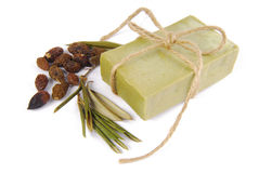 Olive soap isolated Stock Images