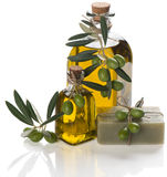 Olive soap with oil Royalty Free Stock Images
