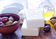 Olive soap Stock Images
