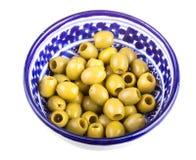 Olive sopra fondo bianco Fotografia Stock
