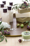 Olive Spa Set with Soap Stock Photos