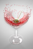 Olive splashing into a cocktail glass. Color illustration of an olive splashing down into a cocktail glass. Classic food\drinking concept on white background Stock Photo