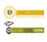 Olive and sunflower oil product vector label templates Stock Image