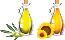 Olive and sunflower oils isolated on white Royalty Free Stock Photo