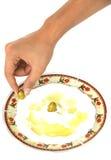 Olive sur une laiterie Labneh Images libres de droits