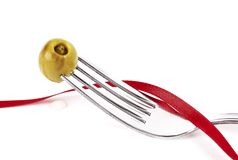 Olive tape fork Royalty Free Stock Photo