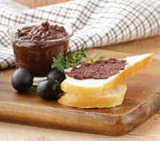 Olive tapenade of black olives with herbs Royalty Free Stock Photo