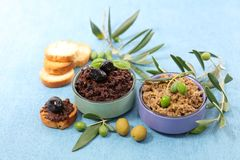 Olive tapenade and bread. Toast Royalty Free Stock Photos
