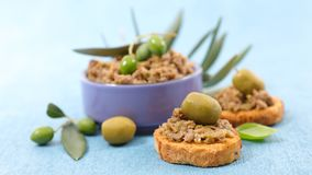 Olive tapenade and bread. Toast Stock Photography