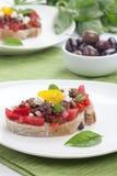 Olive Tapenade Tomato Bruschetta Royalty Free Stock Photos