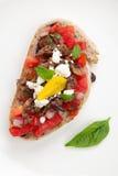 Olive Tapenade Tomato Bruschetta Stock Photography