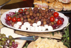 Olive and tomato. Tipical sicilian food olive antipast royalty free stock photography