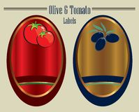 Olive and tomato labels Stock Photo