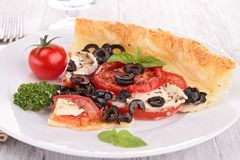 Olive and tomato tart Stock Images
