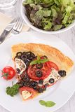 Olive and tomato tart Royalty Free Stock Photo