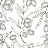 Olive tree branch with olives tiled pattern Stock Photography