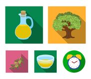 An olive tree, a branch with olives, a vessel and a jug of oil. Olives set collection icons in flat style vector symbol. Stock illustration Royalty Free Stock Photography