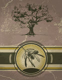 Olive tree and label on vintage background Stock Photography