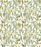 Olive tree leaves seamless pattern Royalty Free Stock Image