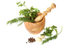 Olive tree mortar and pestle Stock Photography