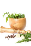 Olive tree mortar and pestle Royalty Free Stock Image