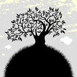 Olive tree silhouette. Stylised Olive tree silhouette Vector illustration, with olives and leaves. Tree Icon stock illustration