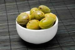 Olive in una ciotola Fotografia Stock Libera da Diritti