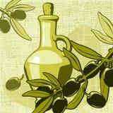 Olive und Glas mit Schmieröl Lizenzfreie Stockbilder