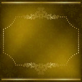 Olive vector card with gold frame Royalty Free Stock Image