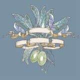 Olive verdi con le foglie in nastri Fotografie Stock Libere da Diritti