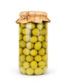 Olive verdi conservate in banca, bottiglia Fotografia Stock