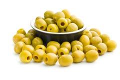 Olive verdi snocciolate in ciotola Fotografia Stock